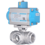 DURAVIS Pneumatic 3 Way St. Steel Ball Valve